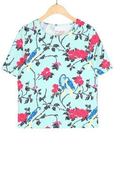 Floral And Bird Short Sleeve Tee