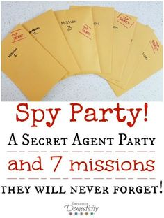 Party: A Secret Agent Birthday Party they will Never Forget! This Spy Party was one of the BEST birthday parties we've ever had! Each of the seven missions were so much fun and the kids were totally into it! Turn all the kiddos into secret agents and give Geheimagenten Party, Craft Party, Party Time, Dinner Party Games, Mystery Dinner Party, Mystery Parties, Spy Birthday Parties, Birthday Fun, Activities For Birthday Parties