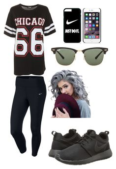"""""""out"""" by take-me-back ❤ liked on Polyvore featuring NIKE and Ray-Ban"""
