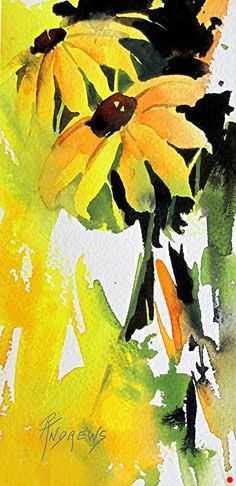 "Splash of Yellow..Watercolor Floral...Texas Artist...Rae Andrews by Rae Andrews Watercolor ~ 6.5"" unframed x 3"" unframed"