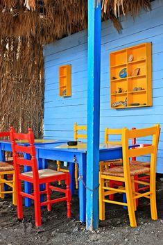 "Colorful beach bar at Therma (""Empros Thermes""), Kos island, Dodecanese, Aegean sea, Greece Kos, Beach Bars, Hercules, Greek Islands, Hot Springs, Decorative Throw Pillows, Love Seat, Greece, Thermal Baths"