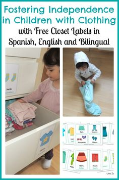Fostering Independence in Children with Clothing including Montessori Inspired Free Clothing Labels in English, Spanish and Bilingual
