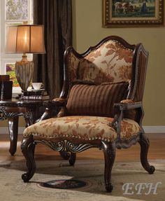 New Remington Elegant Traditional Deep Cappuccino Finish Wood Accent Chair   eBay