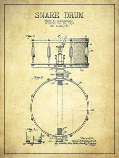 Snare Drum Patent Drawing From 1939 - Vintage Poster By Aged Pixel