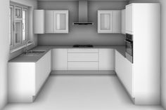 U Shaped Kitchen Design with dimensions