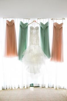 mint peach mismatched bridesmaid dresses / http://www.himisspuff.com/bridesmaid-dress-ideas/8/