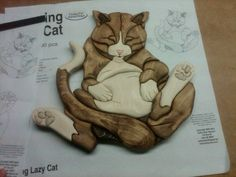 Wood Intarsia Fat cat