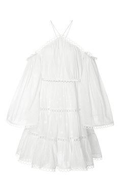 ZIMMERMANN Jasper Cold-Shoulder Tiered Polka-Dot Cotton Mini Dress in White