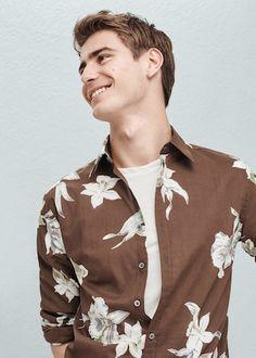 Camisa slim-fit estampado tropical - Camisas de Hombre   OUTLET España