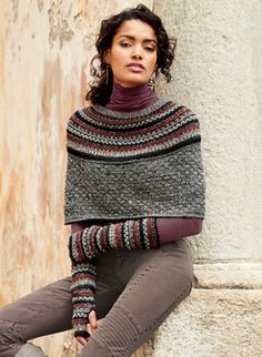 Handcrocheted Fair Isle rings accent the yoke of this cozy knit capelet of pima baby alpaca wool and nylon Nylons, Knitted Capelet, Neck Piece, Sweater Design, Hippie Chic, Knitting Designs, Shibori, Get Dressed, Mantel
