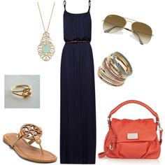 """Maxi dress"" by dyanna85 on Polyvore. Love all except the TB sandals - vowed to never buy her shoes again because they are SO uncomfortable!!!"
