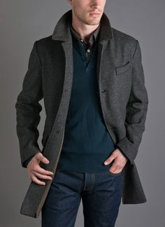 Billy Reid    Sunday Coat - Grey...A timeless wool topcoat in a subtle grey Glen Plaid finished with cordovan leather trimming and a custom blanket lining    100% Wool  Custom blanket lining  4 button front  Natural Horn Buttons  Welt Pocketing  Leather under-collar and button closures  Made in Italy