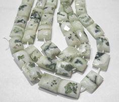 "Natural White Green Solar Quartz Stalactite 10-16mm Faceted Rectangle Beads 9.5"""