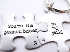 You're The Peanut Butter To My Jelly Matching Keychains.  His and Hers Couples Jewelry.  Best Friends, Besties, Puzzle Piece Keychains.