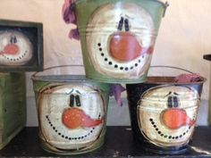 Frosty the Snowman on antique bucket by GoneCountryCrafts on Etsy, $20.00