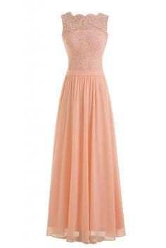 TOSKANA BRAUT Elegant Aermellos Chiffon Tuell Abendkleider Lang Brautjungfern Party Promkleider-44-Beige Rosa