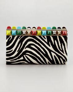 santa babyyyyy-Cayla Stone-Top Calf Hair Clutch Bag, Black/White by Jimmy Choo at Neiman Marcus.