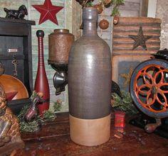 """Primitive Antique Vtg Style Lg. 17"""" Ceramic Stoneware Jug Bottle Vase Jar Crock #NaivePrimitive"""