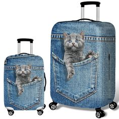 Luggage Protective Covers with Vintage Cheese Pattern Washable Travel Luggage Cover 18-32 Inch