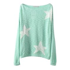 Candy Color Star Pattern Long Sleeve Knitted Sweater with Scoop... ($18) ❤ liked on Polyvore featuring tops, sweaters, shirts, jumper, long sleeve shirts, extra long sleeve shirts, scoop neck sweater, green jumper and star sweaters