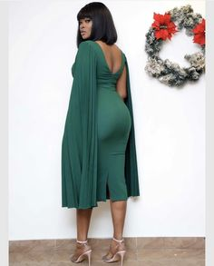 Pleated Plus Size Caped Sleeve Midi Dress – colintime