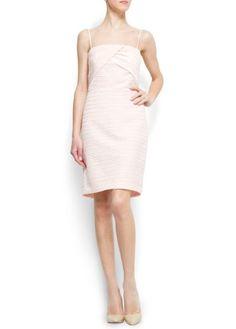 Mango Women's Draped Cocktail Dress, 10, Pale Pink