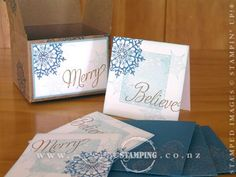 """At our annual Hamilton Christmas Extravagana, Vivienne and I used the Kraft Gift Boxes (page 161, Annual Catalogue) and decorated them using the Snowflake Soiree stamp set (page 5, Holiday Catalogue).  Everyone also made three quick-and-easy 3"""" cards and matching envelopes with the Snowflake Soiree stamp set."""