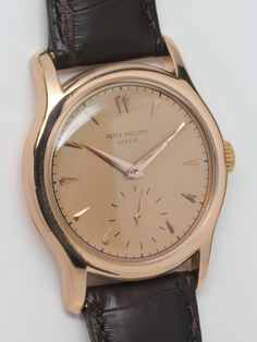Patek Philippe Rose Gold Wristwatch circa 1950s | From a unique collection of vintage wrist watches at http://www.1stdibs.com/jewelry/watches/wrist-watches/
