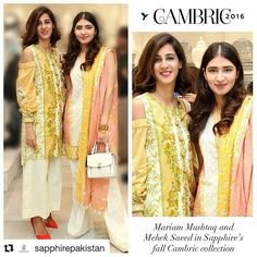 #Repost @sapphirepakistan with @repostapp ・・・ Mariam Mushtaq and Mehek Saeed look absolutely gorgeous wearing Sapphire's cambric collection at the concept store launch. Shop for these outfits while they're in stock!  To shop online: www.sapphireonline.pk  Price: (Left Ornamental Flowery two-piece)  Rs.2250/- (Right Chinese Impression three-piece) Rs.2650/- #SapphirePakistan #SapphrieTravels # #ExoticEast #Cambric #LaunchingSoon #FallCollection #BTS #Sapphireinmycity #SignatureStyle…
