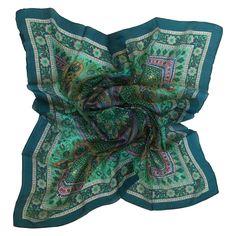 Premium Handmade Paisley Silk Scarf Oblong 100% Silk Scarf PROMOTIONAL PRICE (Dark green traditional)