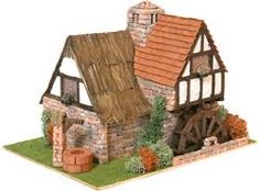 Domus Kits Cottage with Water Wheel Part of the Domus Country Side Series Scale Dimensions 210 x 280 x Pieces Architectural Scale, Pottery Houses, Cottages And Bungalows, Putz Houses, Doll Houses, Model Building Kits, Glitter Houses, Miniature Houses, Christmas Crafts