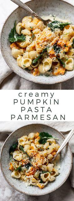 Pasta in Parmesan Garlic Cream Sauce Pumpkin Pasta in Parmesan Garlic Cream Sauce - easy, healthy fall pasta!Pumpkin Pasta in Parmesan Garlic Cream Sauce - easy, healthy fall pasta! Tasty Vegetarian, Beginner Vegetarian, Fall Vegetarian Recipes, Simple Vegetarian Meals, Vegetarian Recipes For Beginners, Parmesan Pasta, Garlic Parmesan, Meatless Pasta Recipes, Vegetarian Recipes
