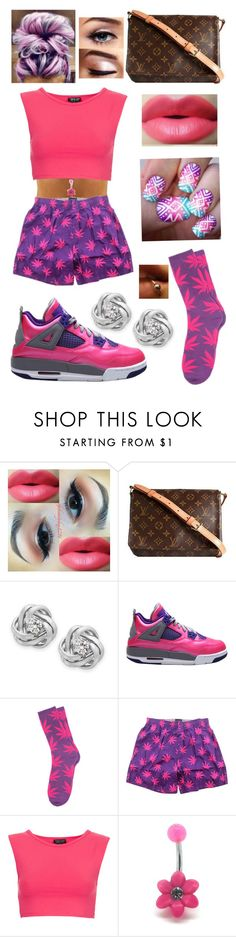 """""""Purple N Pink"""" by dajvuuloaf ❤ liked on Polyvore featuring Louis Vuitton, Wrapped In Love, HUF and Topshop"""