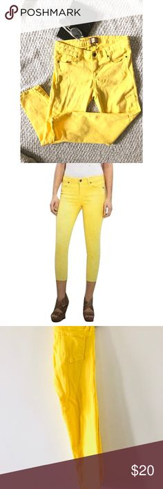 """Paige Roxie Capri """"▪️FEATURE▪️ Bright yellow capri jeans. Feature details: stretch capri jeans.  ▪️PRODUCT DETAILS▪️ Measures: 23"""" inches inseam / 7.5 inches rise Material: 98% Cotton / 2% Spandex  Style: Capri   ▪️CONDITION▪️ Gently worn PAIGE Jeans Ankle & Cropped"""