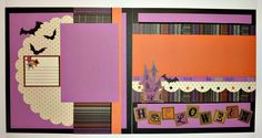Scrapbook layout using Scaredy Cat paper and embellishments by Close To My Heart Halloween Scrapbook, Halloween Cards, Fall Halloween, Scrapbook Layout Sketches, Scrapbooking Layouts, Scrapbook Cards, Scrapbook Organization, Shabby, Fall Cards