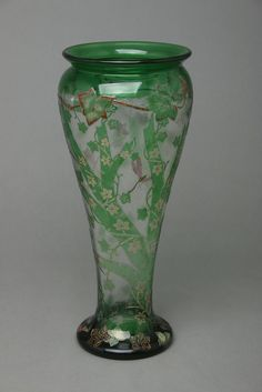 Vintage French Vallerysthal Wheel Cut Cameo Enameled Glass Vase, Naturalistic