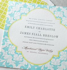 You've gotta adore this patterned blue and yellow #letterpress #weddinginvitation.