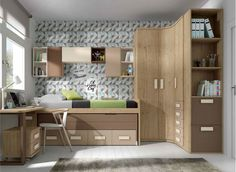Dormitorio juvenil infantil moderno 20-119 Tiny Bedroom Design, Teen Bedroom Designs, Home Room Design, Kids Room Design, Small Room Bedroom, Diy Bedroom Decor For Teens, Kids Bedroom Furniture, Childrens Room Decor, Loft Beds For Teens