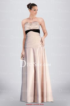 Absorbing Strapless Bridesmaid Dress Featuring Pleats and Contrasting Panel