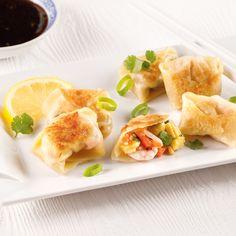 Dumplings aux crevettes et légumes - Je Cuisine Sauce Teriyaki, Snack Recipes, Snacks, Spanakopita, Cantaloupe, Chips, Fruit, Breakfast, Ethnic Recipes