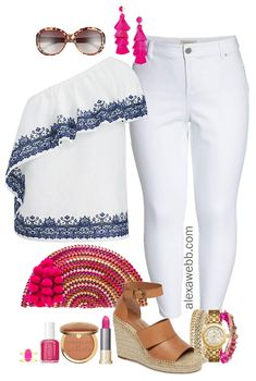 7c4a095e7eaf Plus Size Summer White Jeans Outfit - Plus Size Summer Outfit Idea - Plus  Size Fashion