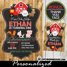 Printable Farm Animals Birthday invitation with matching thank you cards for boys. This personalized Barnyard themed birthday party invitation features a red barn, a tractor and the sweetest farm animals against a chalkboard backdrop on printed barn wood. #cupcakemakeover