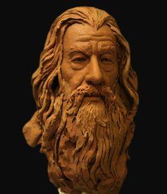 Gandalf clay bust portrait