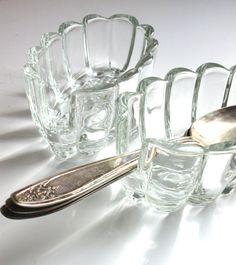 Vintage Glass  Flatware Caddy  glass spoonrest by LemonRoseStudio