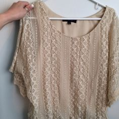 Cream laced blouse Cream laced loose fitted blouse HeartSoul Tops Blouses