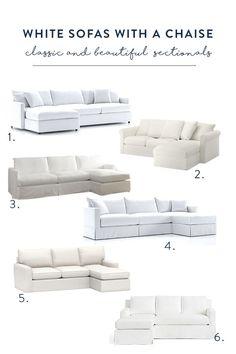 Sofa Options - White Slipcovered Sofas with a Chaise #homedecor #decorating #springdecor #whitesofa #couch #sofa #diy #coastaldecor