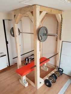 my homemade squat and bench rack 50 cost few hours to