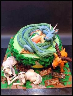 Hayao Miyazaki's Studio Ghibli's Princess Mononoke cake with creatures. Amazing.