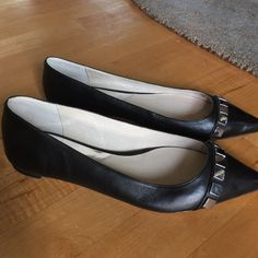 Black Michael Kors Flats Pointed toe flats with silver mirror stones across the toes. Michael Kors Shoes Flats & Loafers
