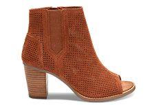 875cd41e679 NEW Cinnamon Perforated Suede Women s Majorca Peep Toe Booties Leather  Heels